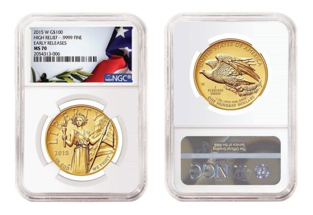 2015 American Liberty High relief gold coin NGC MS70PL Early Release