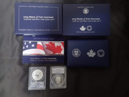 2019-W $1 Silver Eagle Enhanced Rev PR Pride of Two Nations, Canadian Set (Proof)